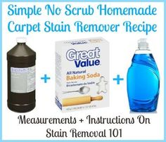 Angela shared her super simple homemade carpet stain remover recipe with me.Angela says:This is super easy!!! Just get a large bottle of hydrogen peroxide,