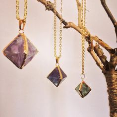 Fluroite Crystal Necklace Gold Plated Custom by newagemerchants