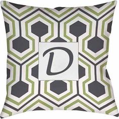 Thumbprintz Honeycomb Monogram Decorative Pillow,Grey, Gray