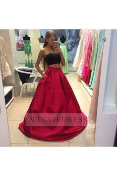 Cheap red prom dress, Buy Quality prom dresses strapless directly from China prom dresses Suppliers: 2 Pieces Black and Red Prom Dress Strapless Beaded Satin A Line Floor Length Sexy Party Gowns vestido de festa Custom Size Prom Dresses Two Piece, Prom Dresses With Pockets, Prom Dresses 2017, A Line Prom Dresses, Cheap Prom Dresses, Two Piece Dress, Formal Evening Dresses, Dress Long, Dress Prom