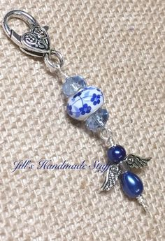 Beaded Zipper Pull- Zipper Charm- Blue Angel Key Chain Charm- Purse Charm- Wallet Charm- Purse jewelry, Necklace Pendant: