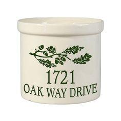 Stoneware Crock Oak Branch Address Design