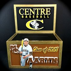 Graduation Gift Card Money Box. Unique carmel brown/black and hammered finish gold on this foamcore gift card box for Aaryn's Graduation Party.  It features his school logos and a photo cutout of him in his baseball uniform. #ClassOf2015 #graduationparty #giftcardbox #moneybox #envelopebox #Graduation2015