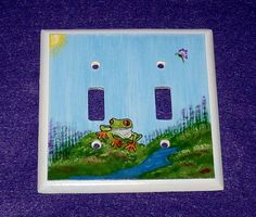 Hand Painted Tree Frog Light Switch Plate by EssenceOfTheSouth, $38.00