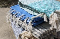 blue. hammam towels.