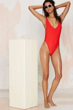 Nasty Gal Alina Swimsuit - Red - The Swim Shop | Vacation Shop | Best Sellers | Back In Stock | One Pieces | Swimwear | Swimwear