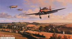 Hurricane Heroes by Nicolas Trudgian.  Hurricanes of 87 Squadron return to their West Country base after repelling attacks by Luftwaffe bombers on nearby aircraft factories, August 1940. Flight Lieutenant Ian Gleeds Hurricane, in which he scored 20 victories, leads the Squadron pilots back to base to refuel, re-arm, and get airborne without delay.   Published 2000.  Signed by three famous Hurricane pilots who fought in the Battle of Britain.16