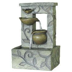 Turn an area of your yard into your own personal oasis with one of these relaxing small outdoor fountains from Kelkay. This self-contained resin-it's nine by six by four    stone fountain comes with a low voltage pump and features tool-free assembly. It can also be used indoors.