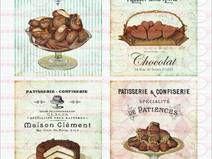 4 Bügelbilder Shabby Nostaligie Kuchen DIN A4