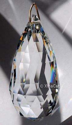 "Pear Shaped SunCatcher Huge 63mm Loop Austrian Crystal Clear Prism 2.5/"""
