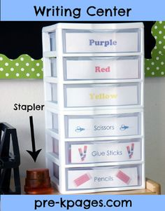 Writing center storage drawers via www.pre-kpages.com