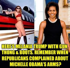 Can you imagine what Fox, etc. would have stirred up had Michelle Obama posed like this, even if it was 15 years before Barrack Obama ran for president?