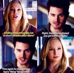 The Vampire Diaries season 5. Caroline does have a thing for vampires with accents. I love Enzo