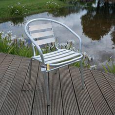 2x Aluminium Lightweight Chrome Bistro Chair Patio Garden Outdoor Silver: Amazon.co.uk: Garden & Outdoors