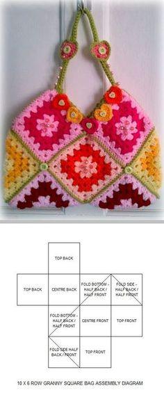 Granny square bag, free pattern by Zelna Olivier of ZootyOwl . . . . ღTrish W ~ http://www.pinterest.com/trishw/ . . . . #crochet #purse #tote