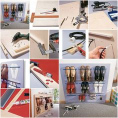 Organization How to make Space Saving Shoes Rack step by step DIY tutorial instructions, How to, how Shoe Rack Organization, Shoe Organizer, Shoe Storage, Storage Ideas, Organizers, Hanging Shoe Rack, Hanging Shoes, Diy Hanging, Space Saving Shoe Rack