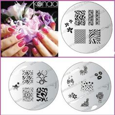 Bundle 4 Items: Konad Nail Art 3x Image Plates - M57, M84, M85 - Zebra,flowers, Butterfly's, Swirls   Kisses Designs  Nail Kit and Box ** Click image to review more details.