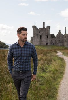 Slate blues, cool greys, and greens inspired by the colors of northern Scotland, featuring all-new custom shirts and jackets. Formal Men Outfit, Casual Outfits, Men Casual, Fashion Outfits, Professional Dresses, Chris Brown, Custom Shirts, What To Wear, How To Look Better