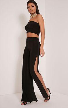 c53034d969b8 Darsee Black Side Split Slinky Pants