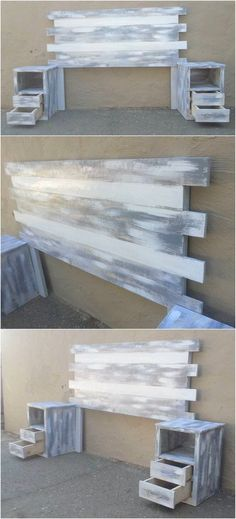 Staggering Incredible Shipping Pallet Projects Distressed Color Wooden Pallet Headboard Idea Here we have idea for you to make a classic headboard with wooden pallets. Make sure cuttings and measur. Diy Pallet Furniture, Diy Pallet Projects, Furniture Projects, Home Projects, Home Crafts, Farmhouse Furniture, Garden Furniture, Repurposed Furniture, Furniture Stores