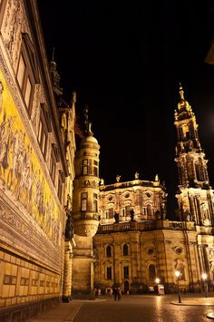 Hofkirche, Dresden, Germany. The mural is 100% porcelain, and depicts the history of Dresden by its rulers