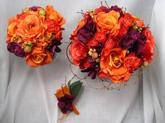 bride could have all purple bouquet, bridesmaids could have orange/purple? good for fall wedding, prob not for spring wedding