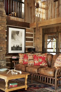 Big Sky Journal - Leftover wood was used to build a loft above the living room.