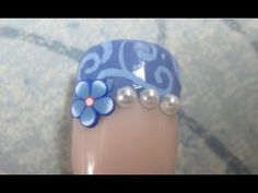 Blue Swirls & Pearls - Fimo Wedding Nail Art Tutorial