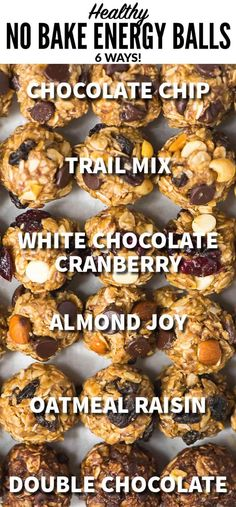 How to make healthy No Bake Energy Balls – ULTIMATE GUIDE. One recipe, endless flavors! Easy recipe made with peanut butter, oatmeal, and chocolate chips … Healthy Protein Snacks, Healthy Snacks To Buy, Healthy Toddler Snacks, Snacks For Work, Healthy Baking, Protein Bites, Healthy Energy Balls Recipe, Healthy Food, Protein Foods