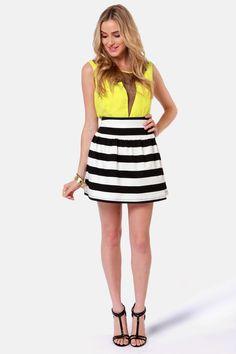 Black and White Striped Skirt.