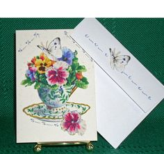 NOTECARDSTeacups with Flowers in Fabric by acraftingheart on Etsy