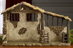 Outdoor Nativity Stable Lighted- Nativity Stable, Diy Nativity, Nativity Sets, Christmas Stage Design, Christmas And New Year, Christmas Manger, Christmas Crafts, Christmas Decorations, Nativity Costumes