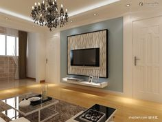 Gypsum Board TV background wall renovation renderings TV wall shelf design