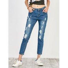 trendsgal.com - Trendsgal High Rise Distressed Jeans - AdoreWe.com