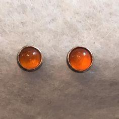 Vintage Carnelian Orange Round Cabochon Stone by Statusjacker