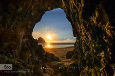 "Window to the World - Pinned by Mak Khalaf Oregon coast Best view in black background. Please click ""M"" Landscapes Oregoncoastoceanoceansideorseascapesunsettunnel by PDidsayabutra"