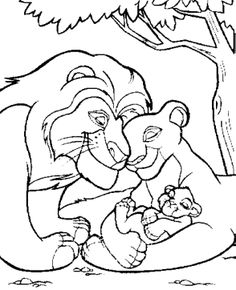Simba The Lion King With Family Coloring Pages