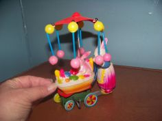 Mother Bunny Rabbit, Baby&Carriage Windup Celluloid Easter ? Toy Japan