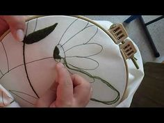 Embroidering leaves and branches of foot of bed video 1 Decorating Flip Flops, Embroidered Leaves, Foot Of Bed, Cross Stitch Embroidery, Pottery Barn, Creative, Branches, Youtube, Scribble
