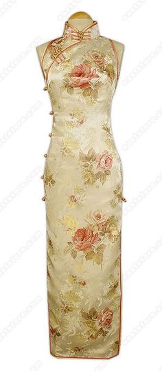 Mandarin collar.  Chinese treated frog button.  Buttons closure.  Cut-in shoulder.  Sleeveless.  2 side slits.  Fully lined.  Peony patterns.  Ankle length.