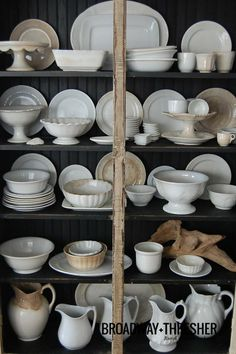 Gorgeous collection of ironstone  This makes a kitchen feel like home!