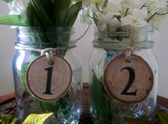 Table Numbers with Mason Jars Wedding by DivineRusticCreation, $100.00