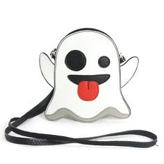 "Cute Little Spooky Ghost Bag Purse Emoji - 20"" Adjustable Strap Drop (Detachable) - Zip Top Closure - 1 Back pocket. - 2 Pouch Pockets Inside. - Premium vinyl vampire bat bag. - Vinyl material with in"
