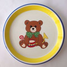 Childs-Teddy-Bear-Plate-Mikasa-Dinner-Dinnerware-Ceramic-Blue-Yellow-Retired