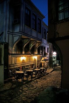 Plovdiv street at night