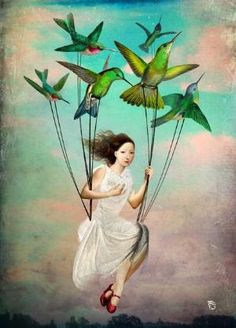 """Take me somewhere nice"" by Christian Schloe - Buy ""Take me somewhere nice"" as Poster by Christian Schloe and many more photos, posters and art prints on ARTFLAKES. Fantasy Kunst, Fantasy Art, Surrealism Painting, Pop Surrealism, Surreal Art, Bird Art, Oeuvre D'art, Cool Art, Illustrator"