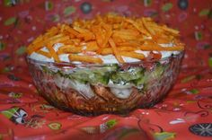 Millas Kitchen: Gyros Layer Salad – Rebel Without Applause Nacho Salat, Seven Layer Salad, A Food, Food And Drink, Chopped Salad Recipes, High Fiber Foods, Eating Eggs, How To Cook Potatoes, How To Eat Less