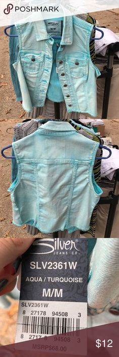 NWT Silver Jeans Co. denim vest Brand new & super cute. Turquoise colored Silver Jeans Jackets & Coats Vests