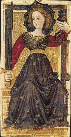 Le tarot dit de Charles VI: La Justice, Tarot dit de Charles VI, fin du XVe siècle, Italie du Nord