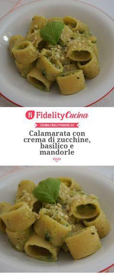 Calamarata con crema di zucchine, basilico e mandorle